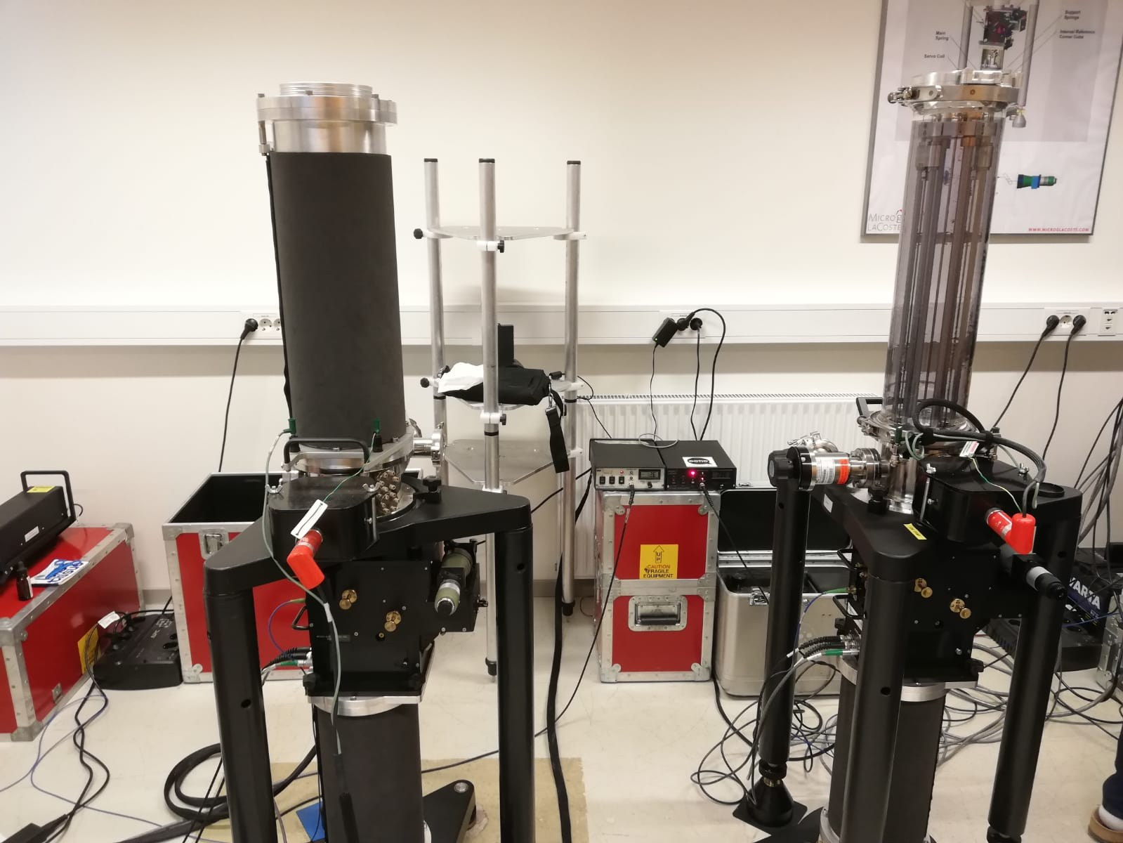 Micro g LaCoste absolute gravimeters FG5 (left) and FG5-X (right) at NMBU's gravity lab.