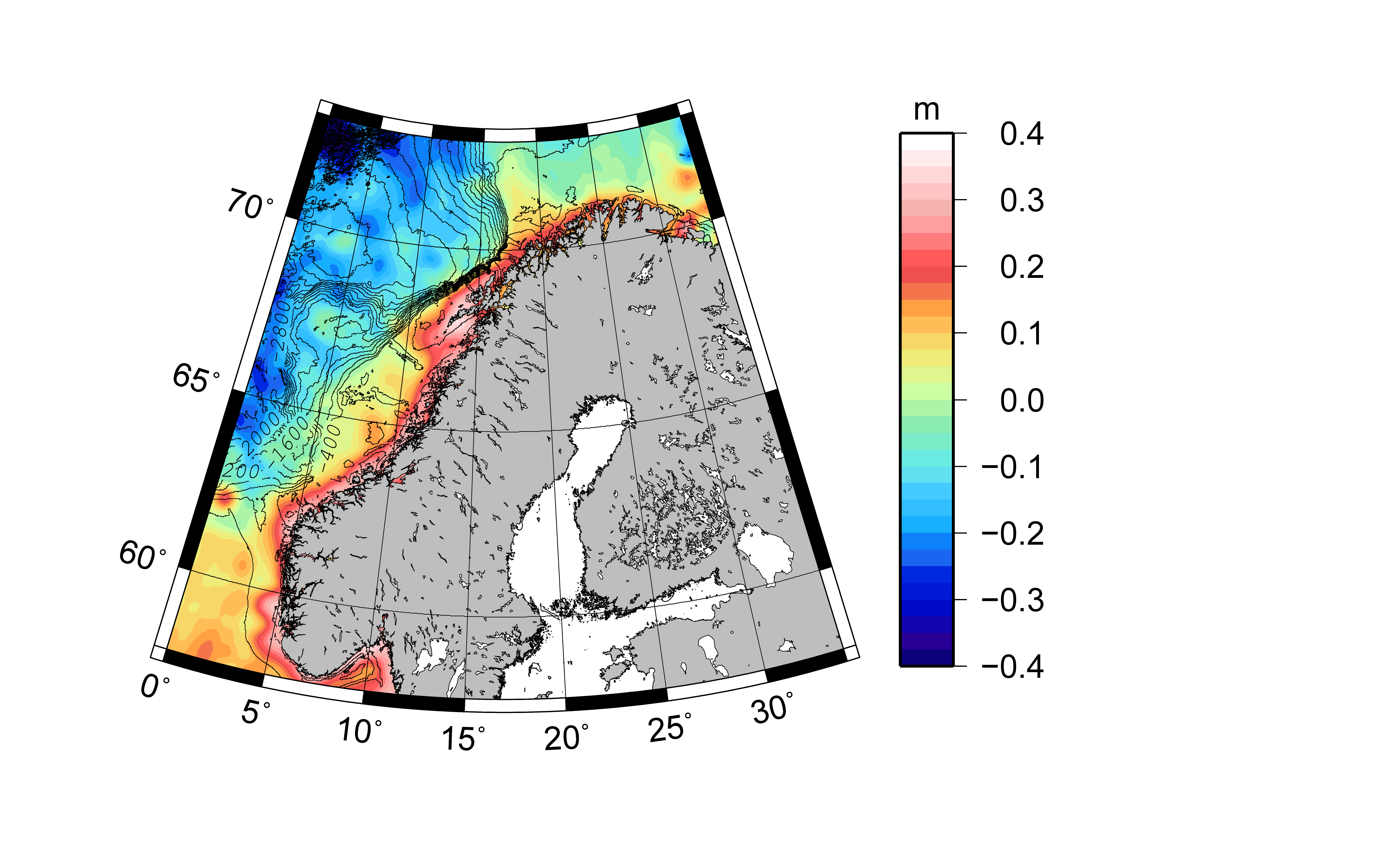 Coastal mean dynamic topography based on CryoSat-2 and NKG2015. The mean value has been removed. 400 m isobaths from the 2014 General Bathymetric Charts of the Oceans (GEBCO) (Weatherall et al., 2015) grid are shown.