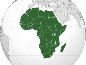 Orthographic map of Africa