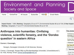 Cavanagh: Anthropos into humanitas: Civilizing violence, scientific forestry, and the 'Dorobo question' in eastern Africa