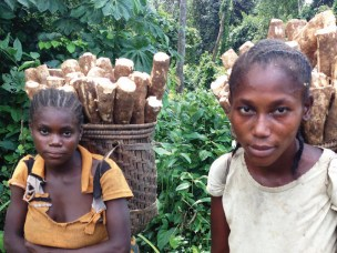 Women return from harvesting cassava in Buya 1 village, Bikaro, Equateur Province, DRC