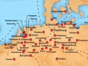 Dutch map of the different Hanseatic League cities and trade routes.