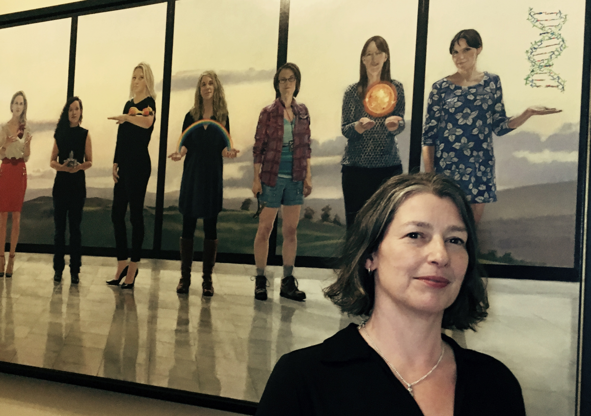 CERAD Research Director Deborah Oughton in front of the 'Women on Walls' painting at the Royal Irish Academy in Dublin