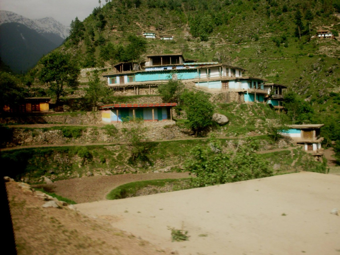 Houses built on the steep hills of Swat valley