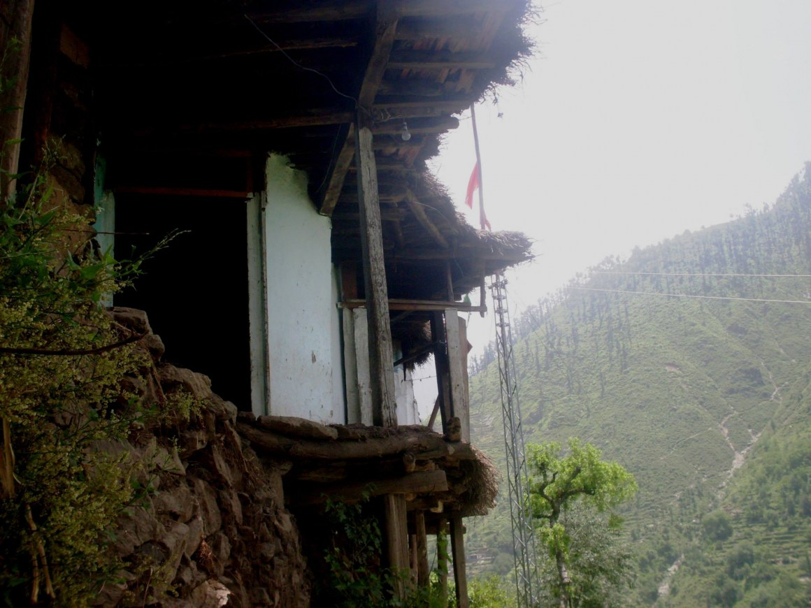 House built on the steep hills of Swat valley