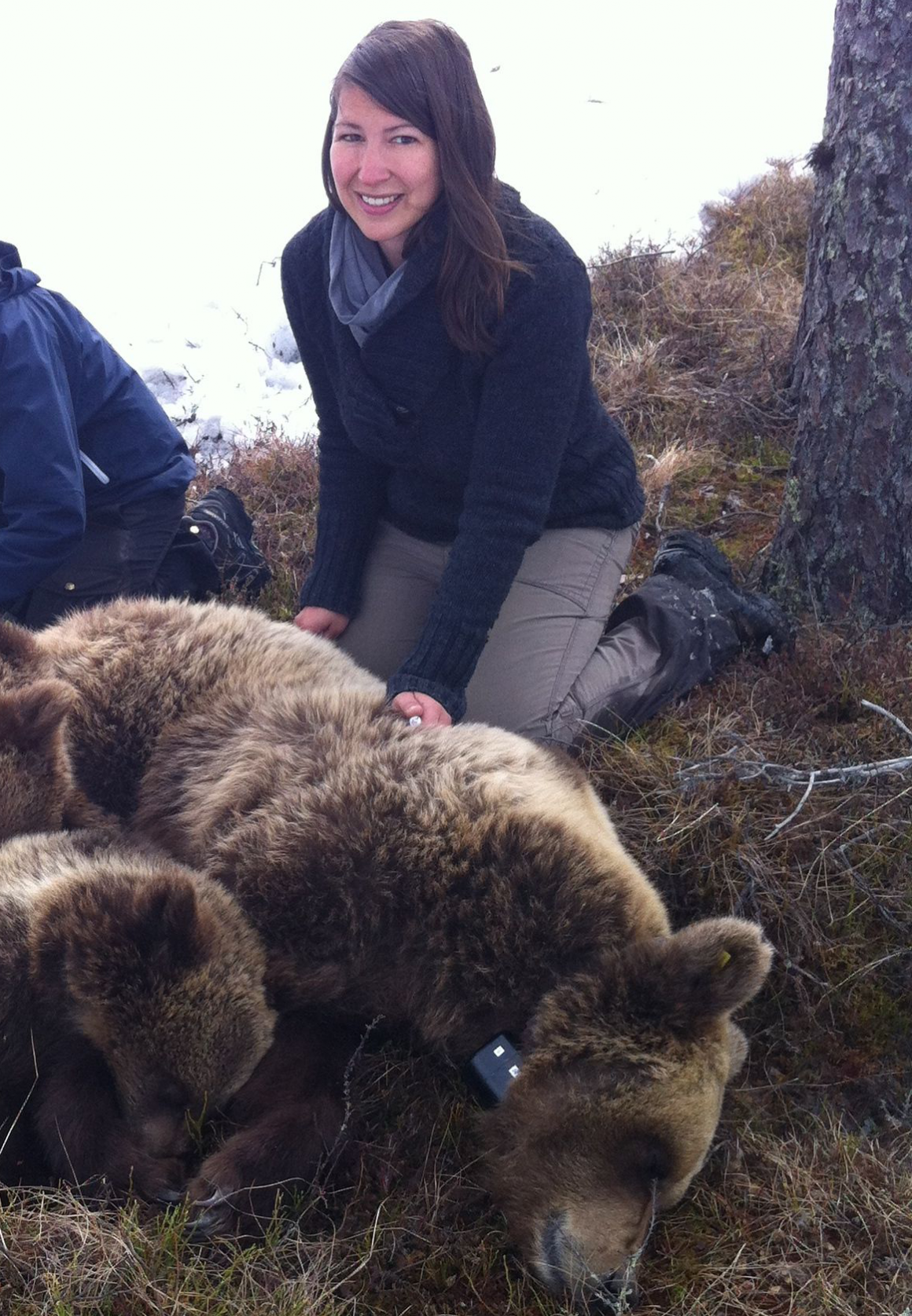 Phd student Anne Hertel in the field.