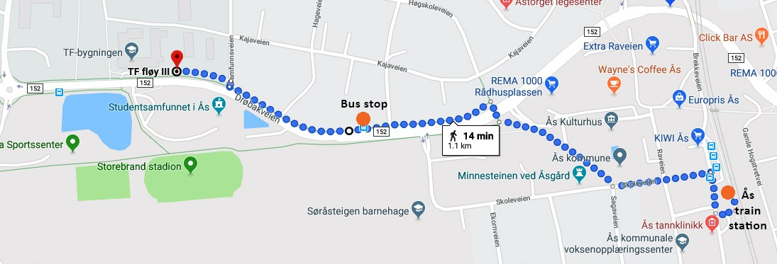 Arriving by bus or train to NMBU/RealTek