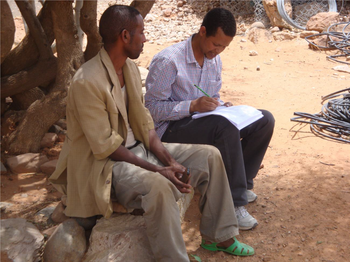 PhD candidate Dawit Gebregziabher Mekonen (MINA, to the right) during his field work in Ethiopia, interviewing locals.