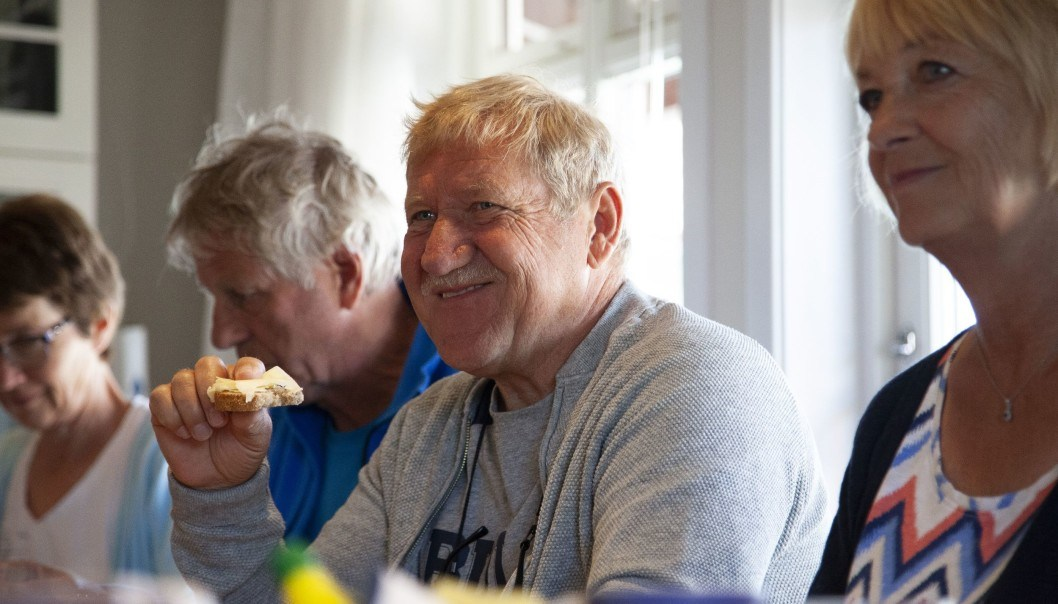 """""""Can you pass me the fish, please?"""" """"Is there any more coffee?"""" """"Where's the jam we made in the autumn?"""" """"This is just like a hotel breakfast,"""" exclaims Steinar Karlsen, who has been a client on the farm for five years."""
