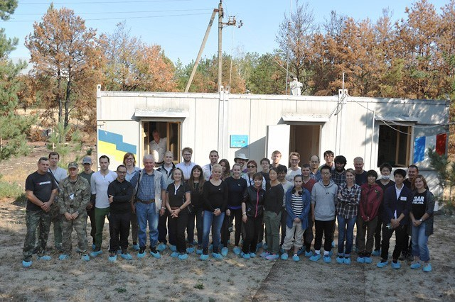 """Participants in the """"Red forest"""" ready for fieldwork"""