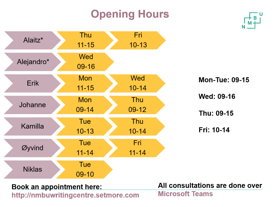 Opening Hours Fall 2020