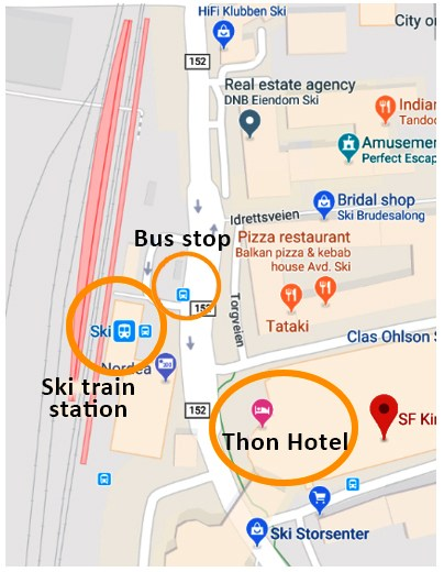Location of Thon Hotel in Ski