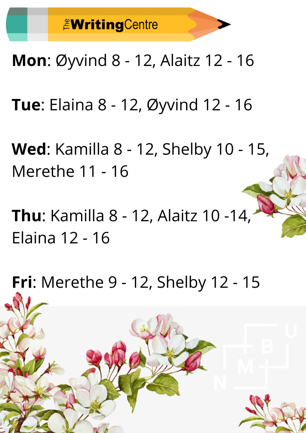 Spring working schedule