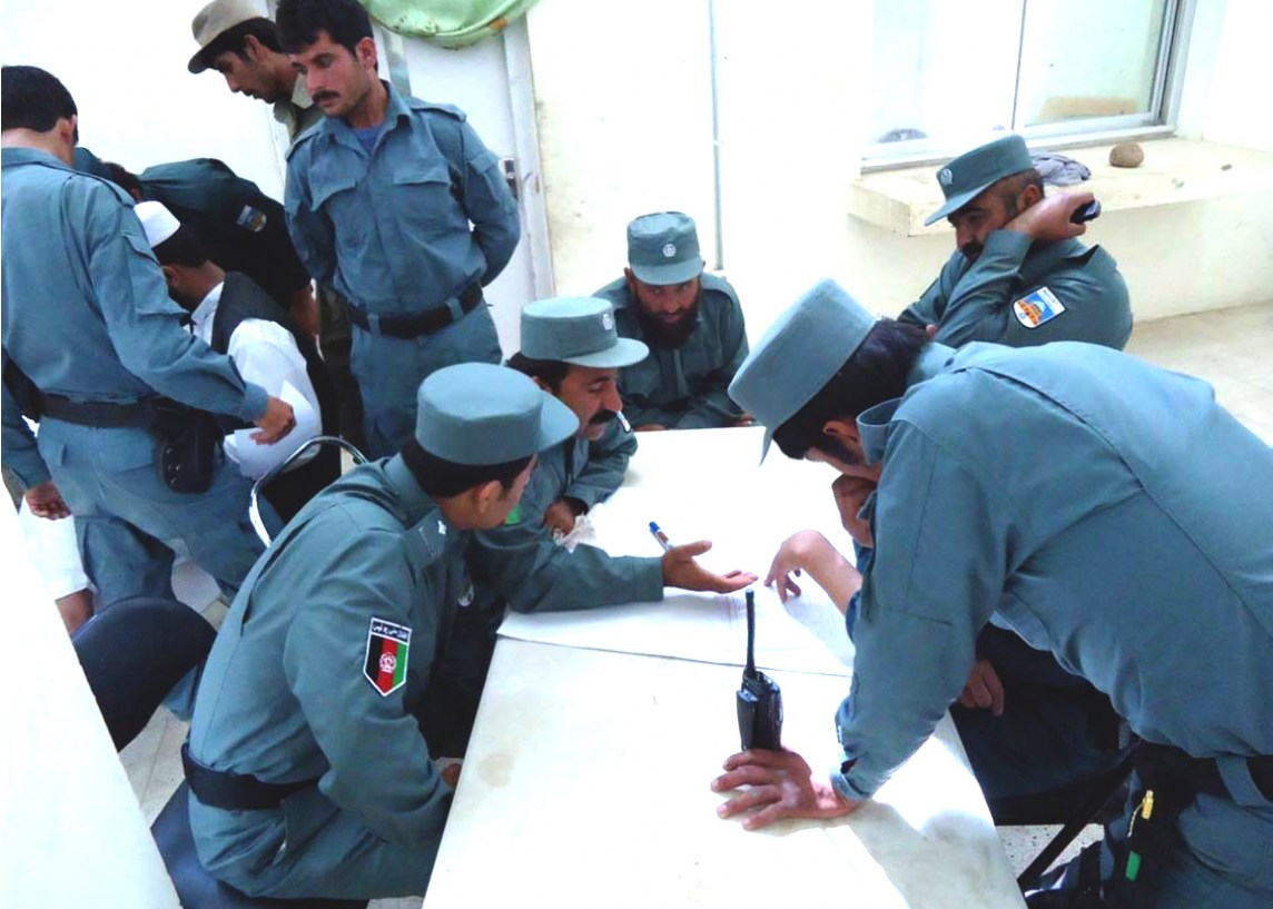 Tadbeer-facilitated police group-work during a follow-up Meeting in Nawa District, Hilmand