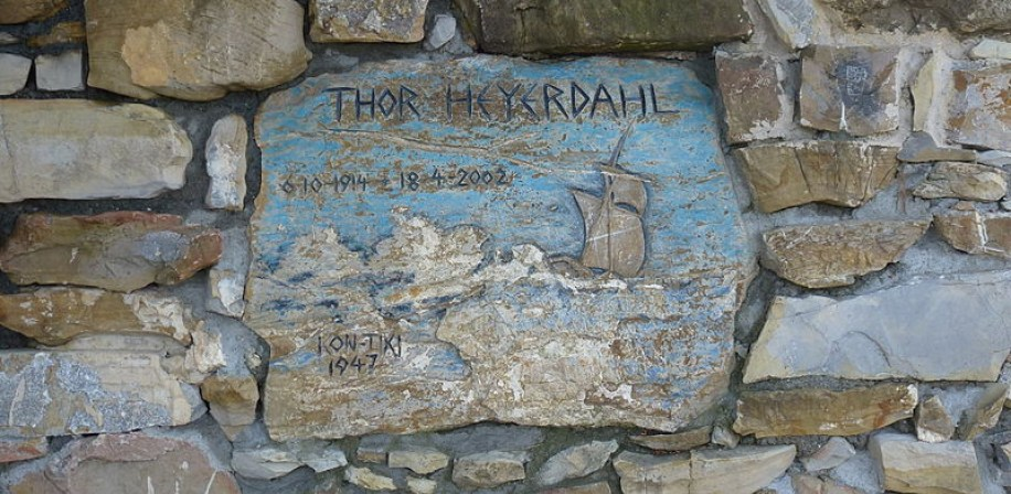 Memorial stone for Thor Heyerdahl