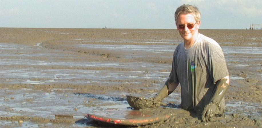 Ian Bryceson conducting field research at a prawn farm in Malaysia.