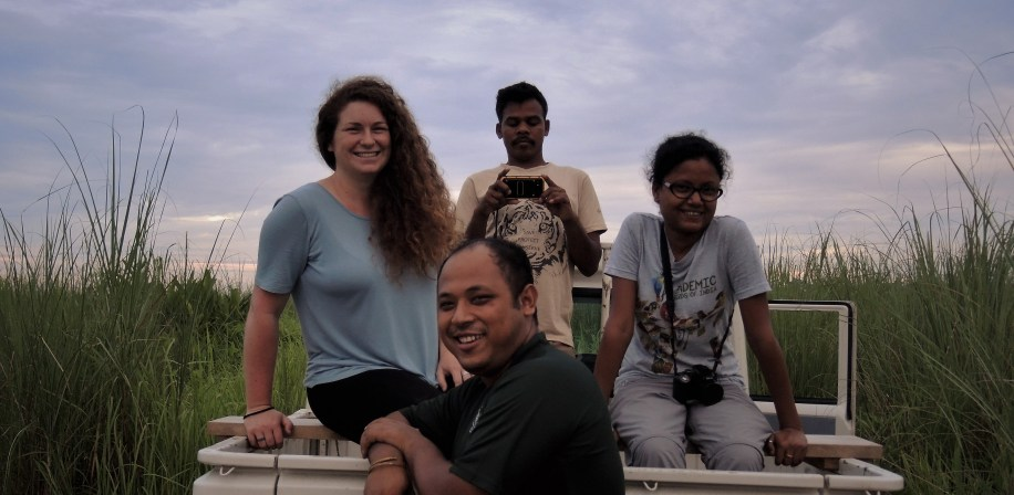 The local research team and Silvia during a safari through the Manas National Park.