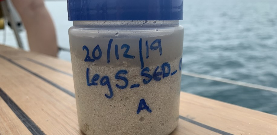 Sediment samples to be shipped to the UK for processing.