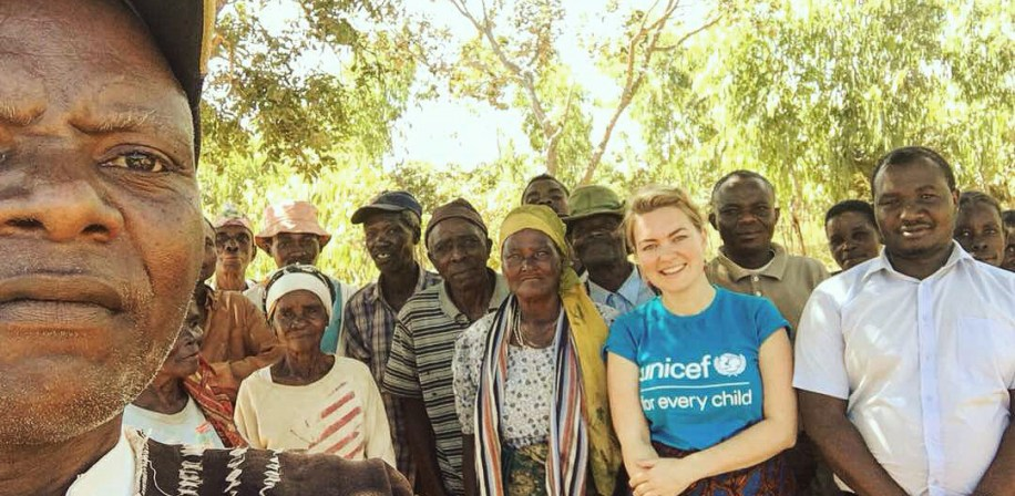 Noragric alumna Linn Jaeckle working on a social cash transfer programme for UNICEF Malawi in Chitipa, spring 2018.