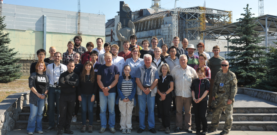 All participants and lecturers in front of Chernobyl reactor 4
