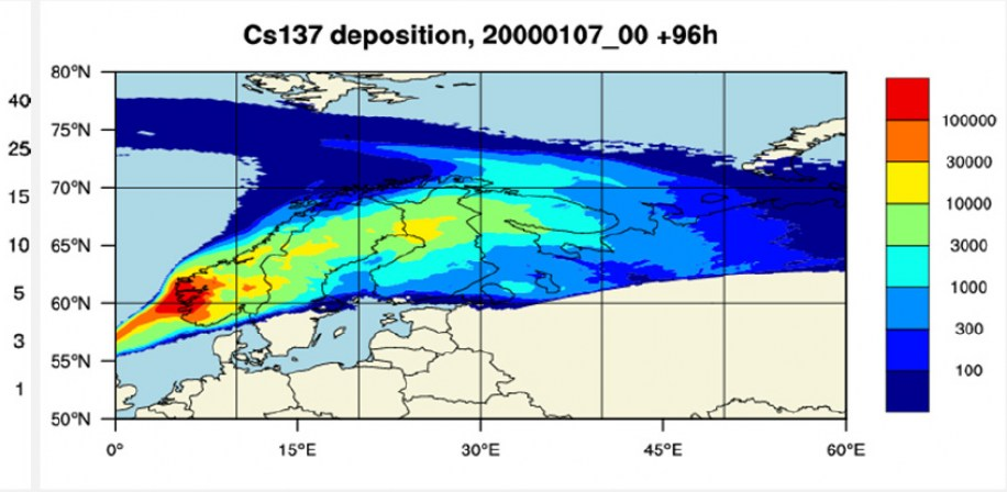 Map with probability of arrival of radioactive cloud to a given location from a hypothetical accident in the Sellafield nuclear facilities (on the left) and deposition map for Cs-137 from the worst case scenario for hypothetical accident. Units: Bq m-2 (on the right).